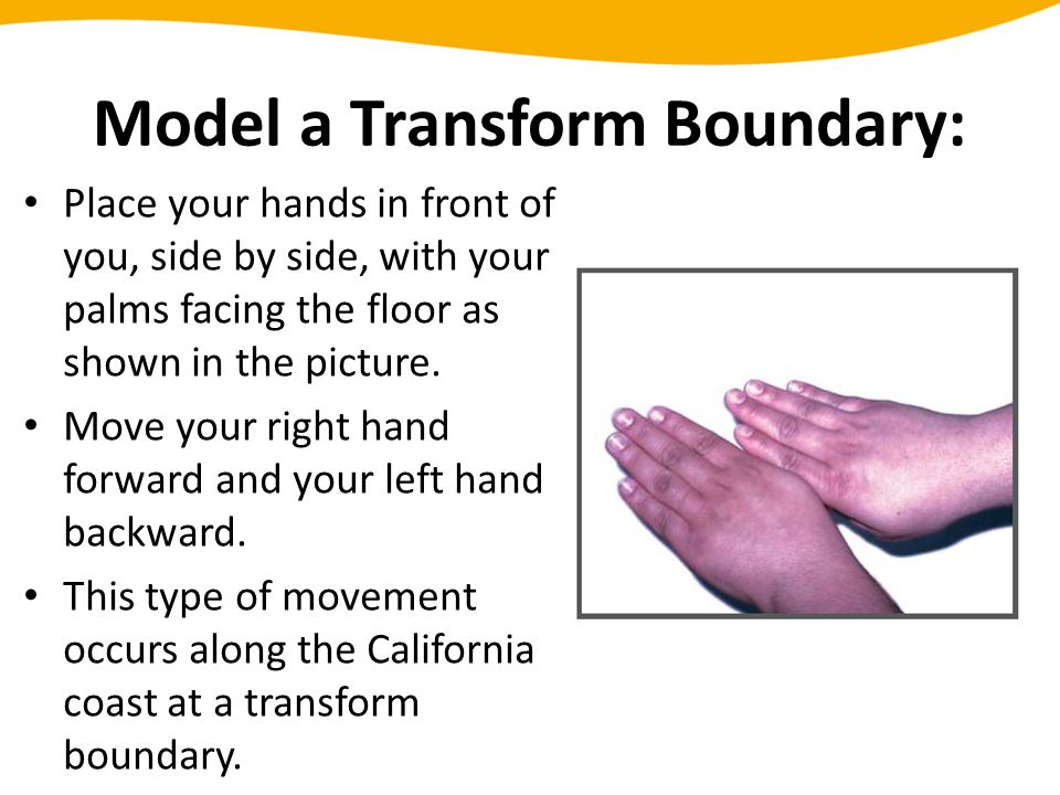 Model a Transform Boundary: Place your hands in front of you, side by side, with your palms facing the floor as shown in the picture. Move your right