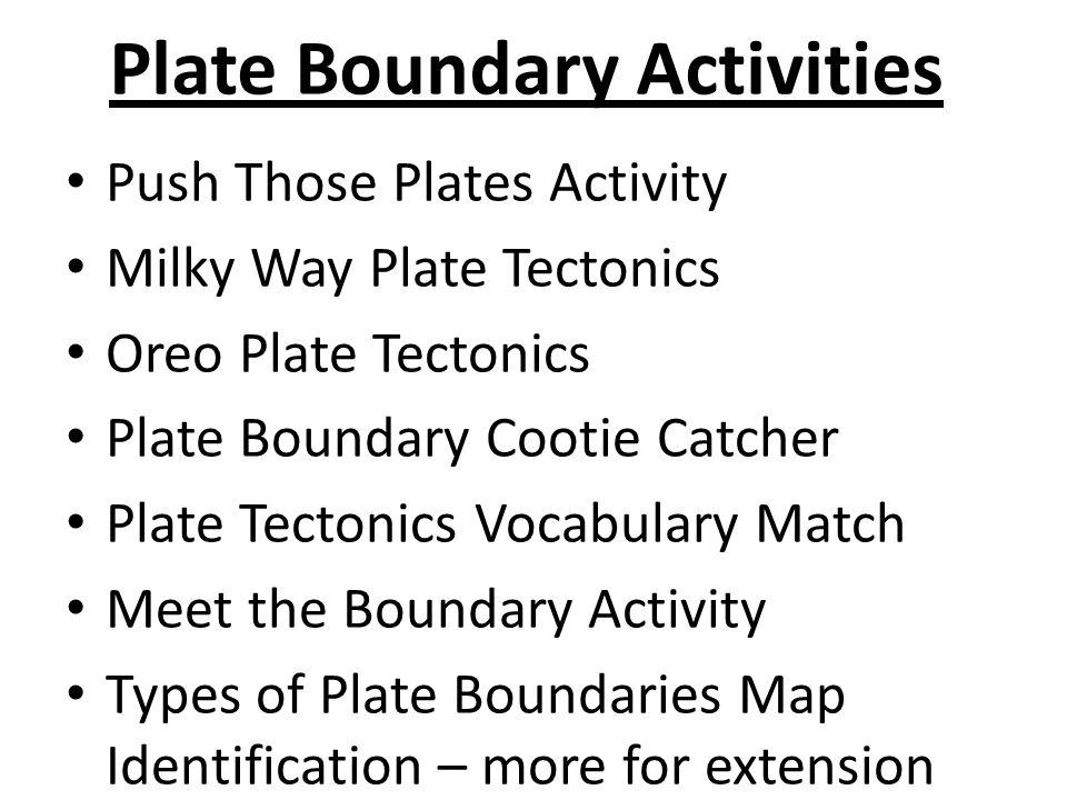 Plate Boundary Activities Push Those Plates Activity Milky Way Plate Tectonics Oreo Plate Tectonics Plate Boundary Cootie Catcher Plate Tectonics Voca