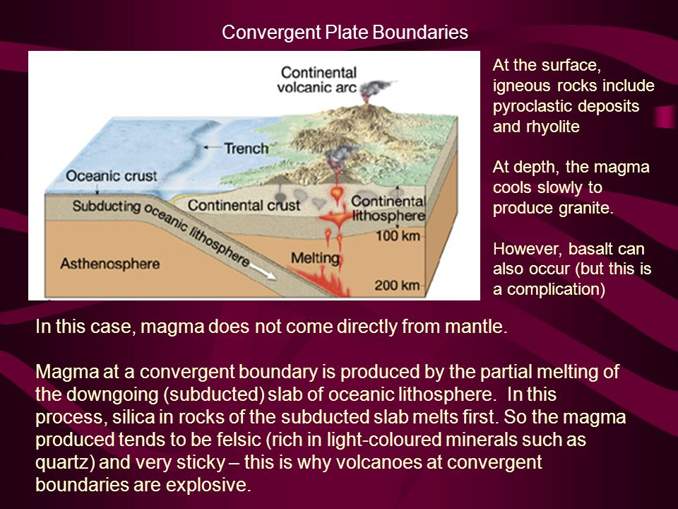 Convergent Plate Boundaries In this case, magma does not come directly from mantle.