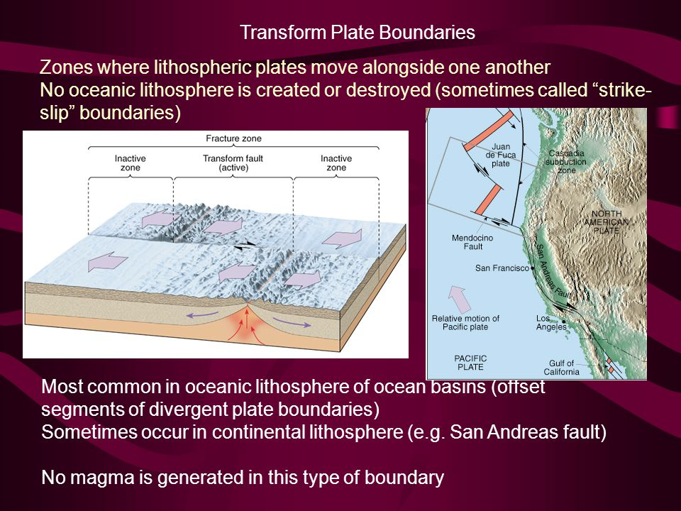 Transform Plate Boundaries Zones where lithospheric plates move alongside one another No oceanic lithosphere is created or destroyed (sometimes called strike- slip boundaries) Most common in oceanic lithosphere of ocean basins (offset segments of divergent plate boundaries) Sometimes occur in continental lithosphere (e.g.