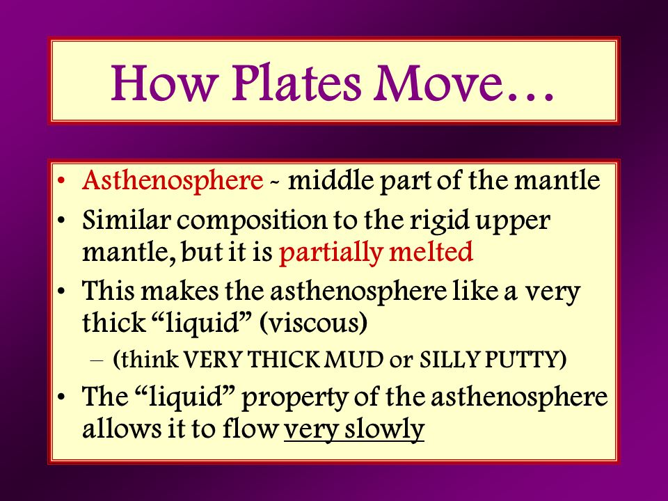 How Plates Move… Asthenosphere - middle part of the mantle Similar composition to the rigid upper mantle, but it is partially melted This makes the as