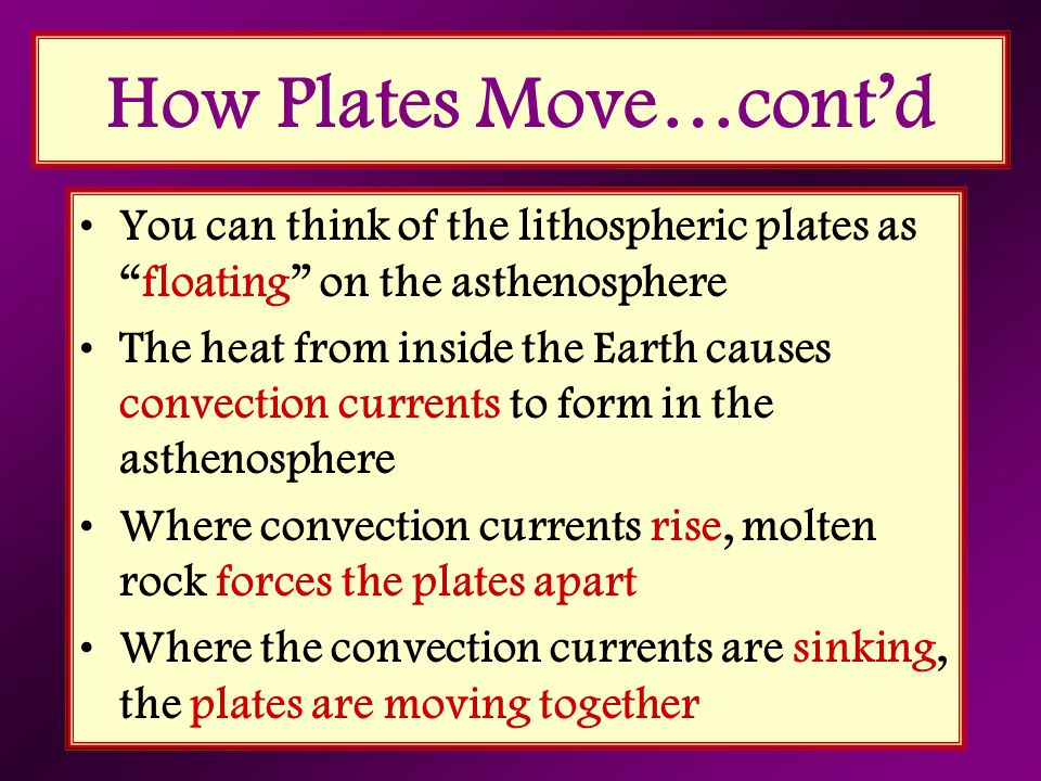 """How Plates Move…cont'd You can think of the lithospheric plates as """"floating"""" on the asthenosphere The heat from inside the Earth causes convection cu"""
