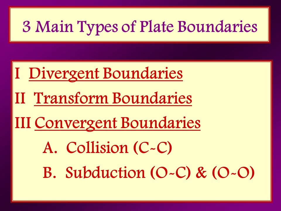 3 Main Types of Plate Boundaries I Divergent Boundaries II Transform Boundaries III Convergent Boundaries A. Collision (C-C) B. Subduction (O-C) & (O-
