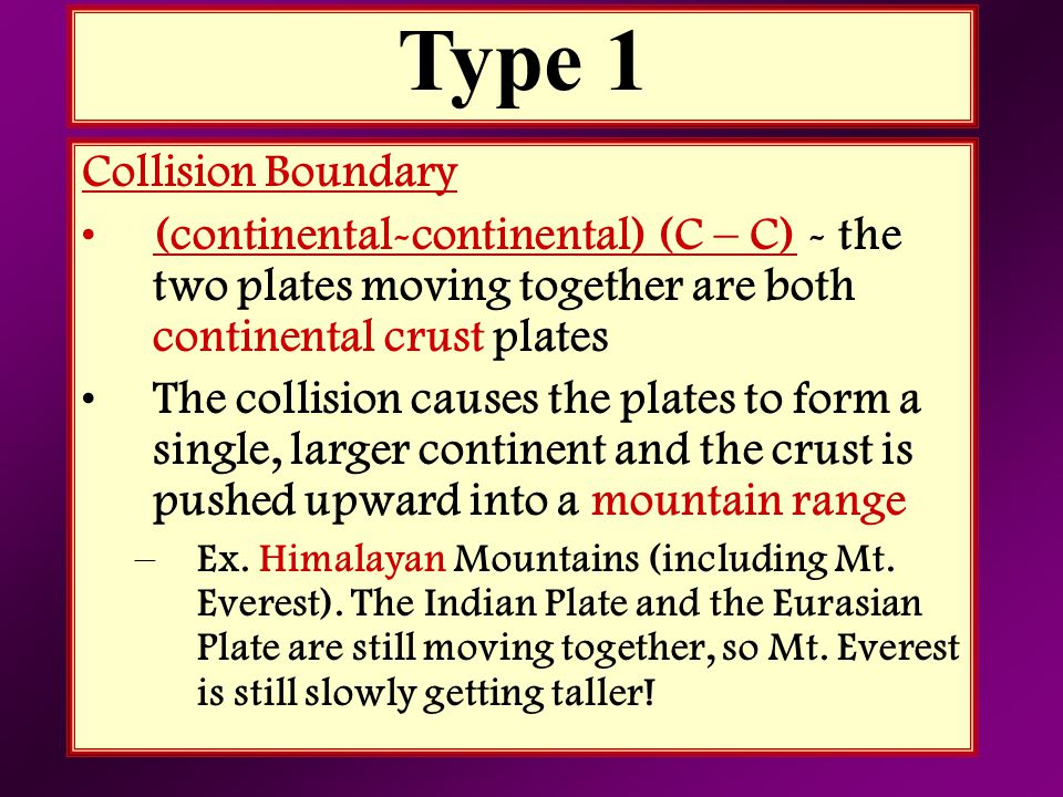 Collision Boundary (continental-continental) (C – C) - the two plates moving together are both continental crust plates The collision causes the plate