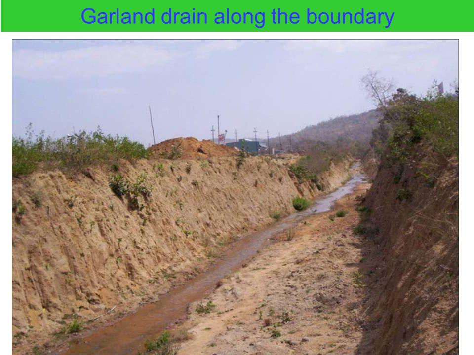 Garland drain along the boundary
