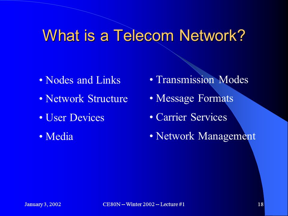 January 3, 2002CE80N -- Winter 2002 -- Lecture #118 What is a Telecom Network.