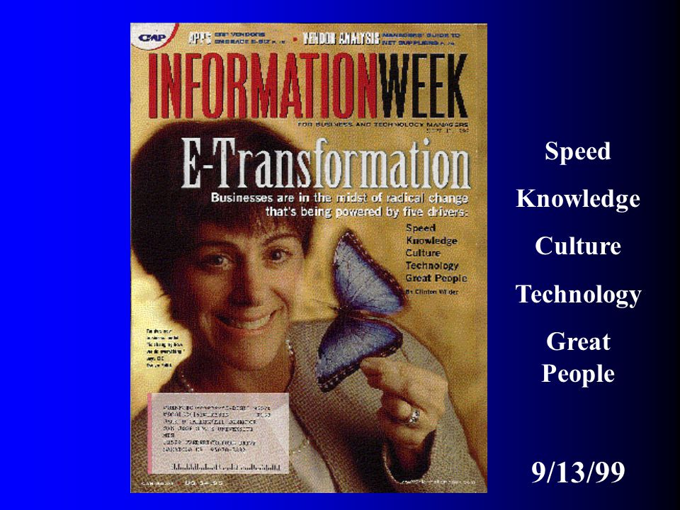 Speed Knowledge Culture Technology Great People 9/13/99