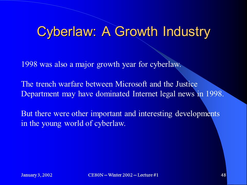 January 3, 2002CE80N -- Winter 2002 -- Lecture #148 Cyberlaw: A Growth Industry 1998 was also a major growth year for cyberlaw.