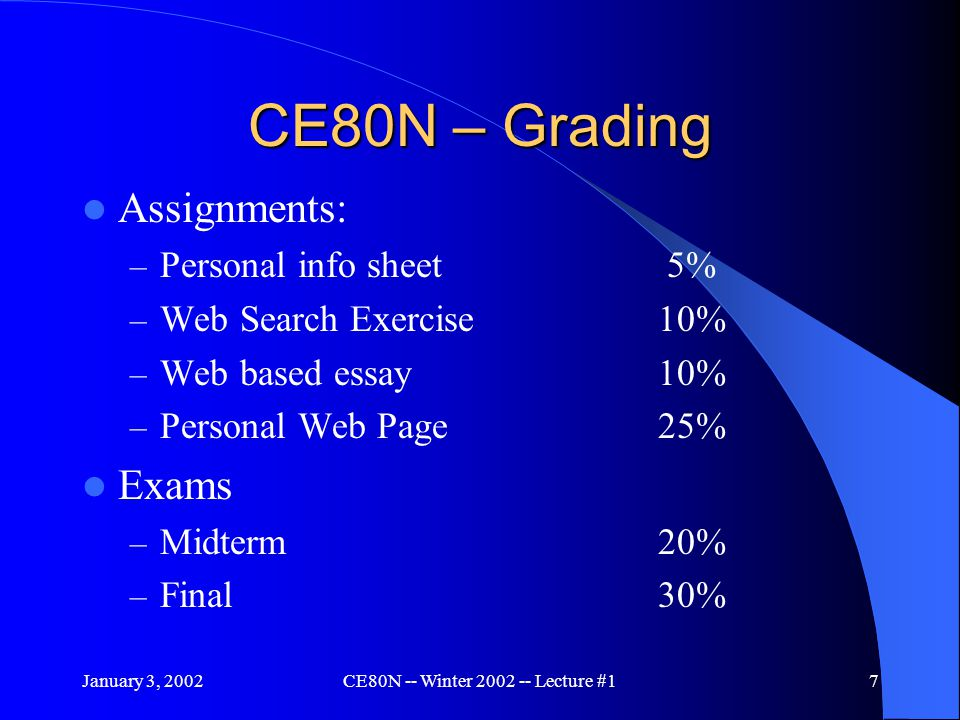 January 3, 2002CE80N -- Winter 2002 -- Lecture #17 CE80N – Grading Assignments: – Personal info sheet 5% – Web Search Exercise10% – Web based essay10% – Personal Web Page25% Exams – Midterm20% – Final30%