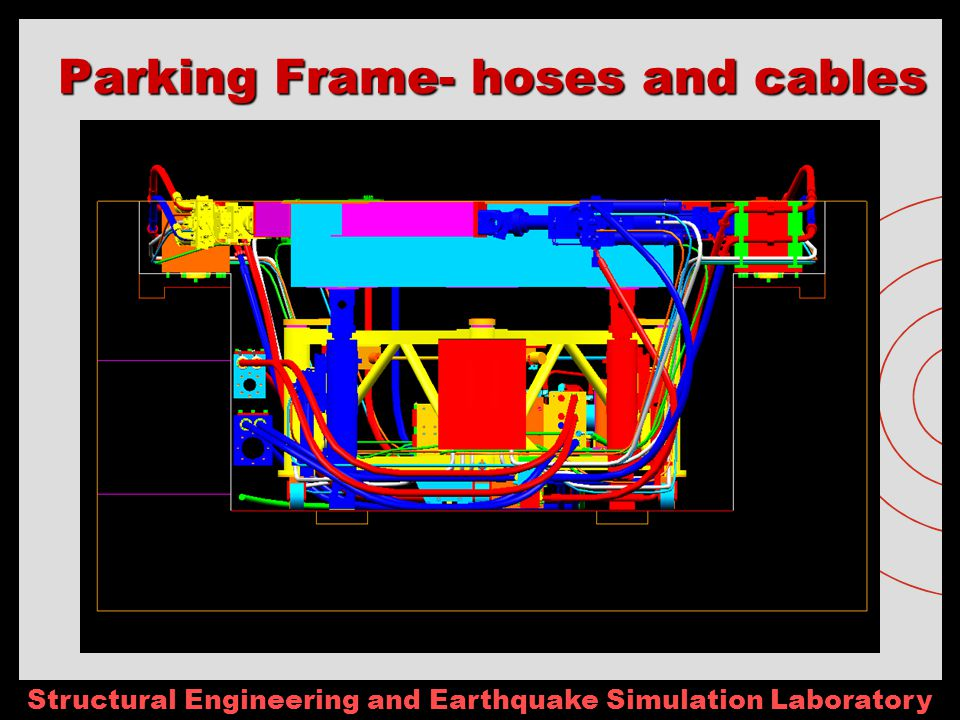Structural Engineering and Earthquake Simulation Laboratory Parking Frame- hoses and cables