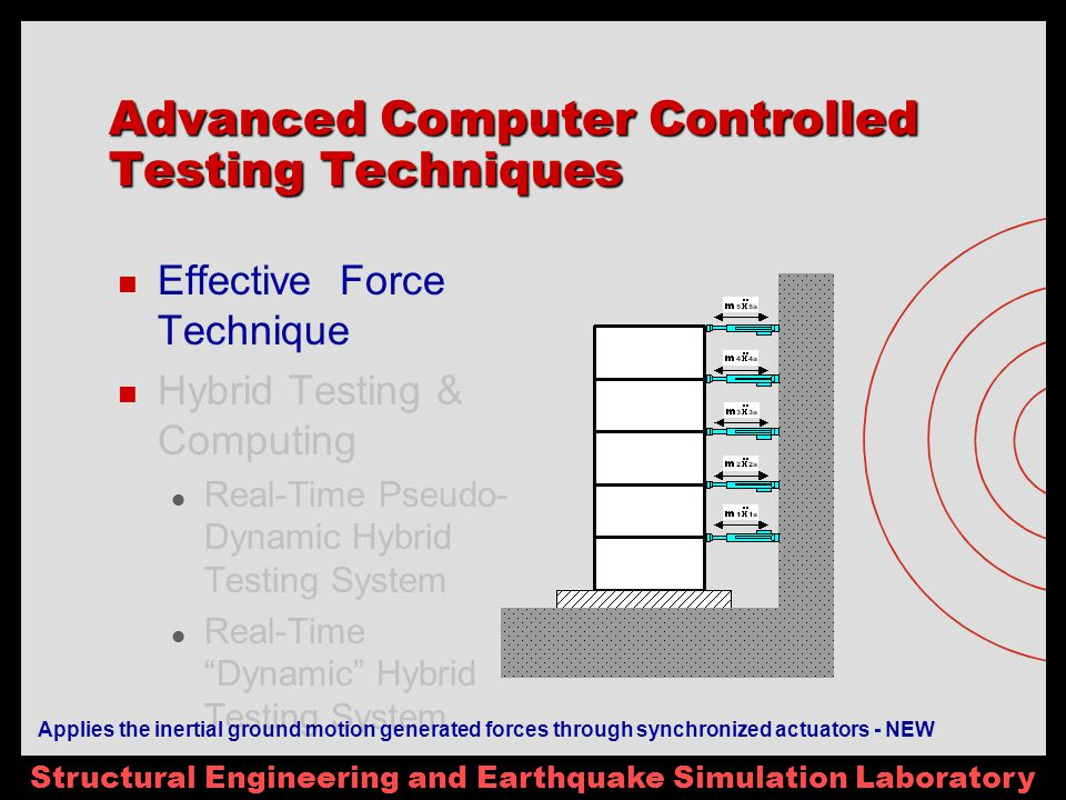 Structural Engineering and Earthquake Simulation Laboratory Advanced Computer Controlled Testing Techniques Effective Force Technique Hybrid Testing & Computing Real-Time Pseudo- Dynamic Hybrid Testing System Real-Time Dynamic Hybrid Testing System Applies the inertial ground motion generated forces through synchronized actuators - NEW