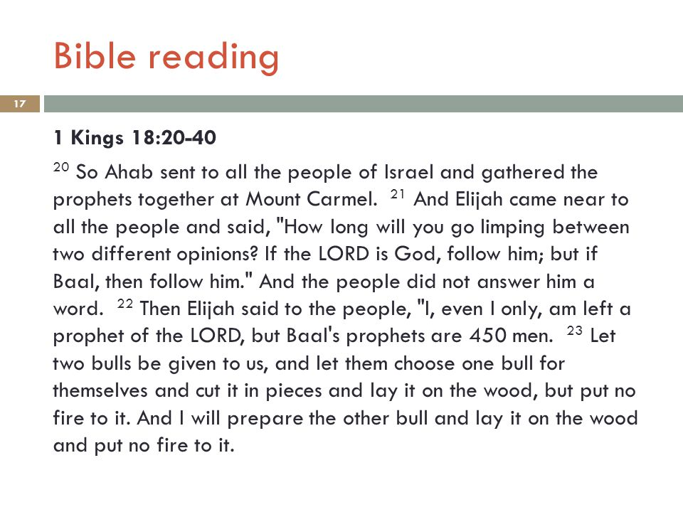 Bible reading 17 1 Kings 18:20-40 20 So Ahab sent to all the people of Israel and gathered the prophets together at Mount Carmel.