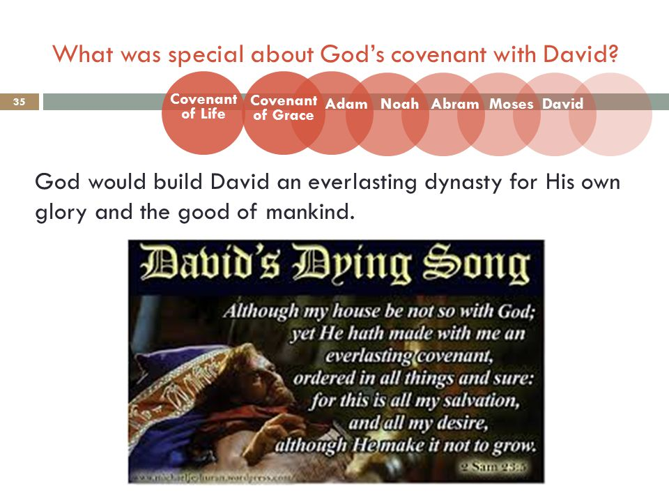 What was special about God's covenant with David? 35 God would build David an everlasting dynasty for His own glory and the good of mankind. Covenant