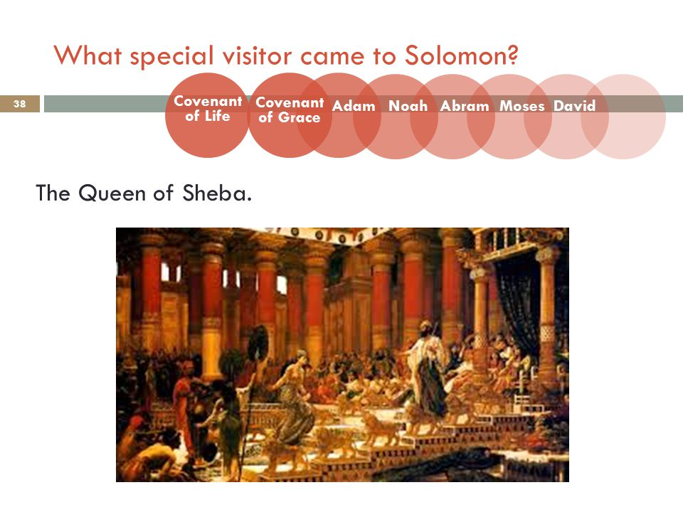 What special visitor came to Solomon. 38 The Queen of Sheba.