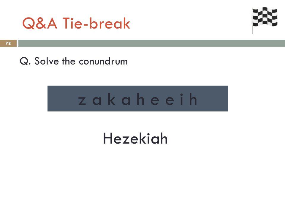 Q&A Tie-break 78 Q. Solve the conundrum Hezekiah z a k a h e e i h