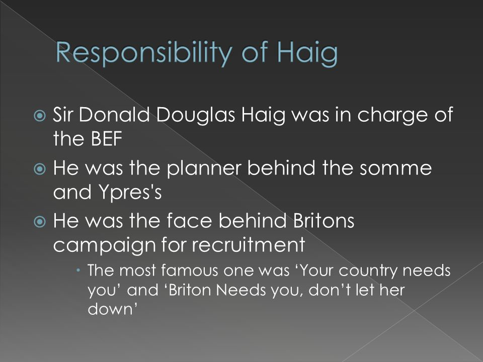 Sir Donald Douglas Haig was in charge of the BEF  He was the planner behind the somme and Ypres's  He was the face behind Britons campaign for rec