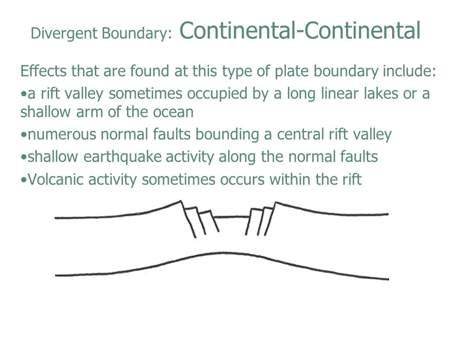 Divergent Boundary: Continental-Continental Effects that are found at this type of plate boundary include: a rift valley sometimes occupied by a long
