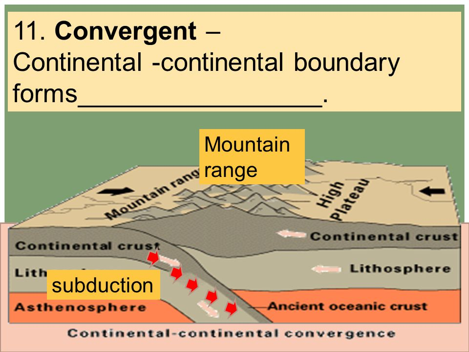 11. Convergent – Continental -continental boundary forms_________________. Mountain range subduction