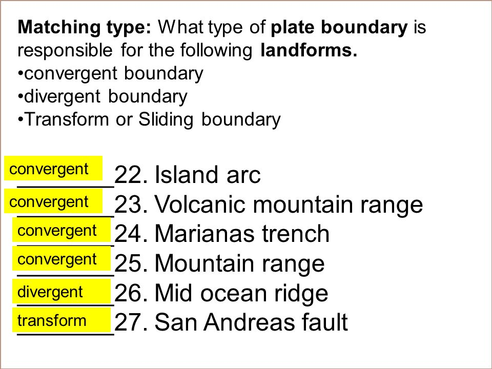 Matching type: What type of plate boundary is responsible for the following landforms.