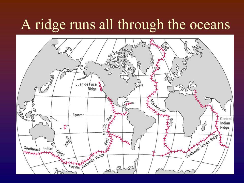A ridge runs all through the oceans