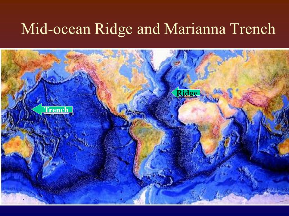 Mid-ocean Ridge and Marianna Trench Trench Ridge