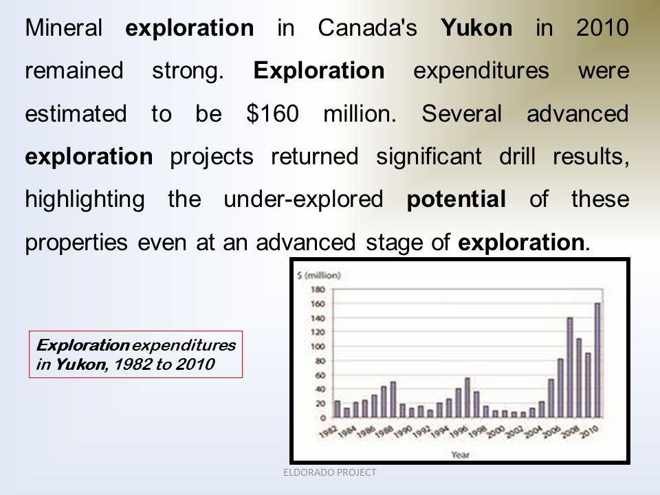 ELDORADO PROJECT Mineral exploration in Canada s Yukon in 2010 remained strong.