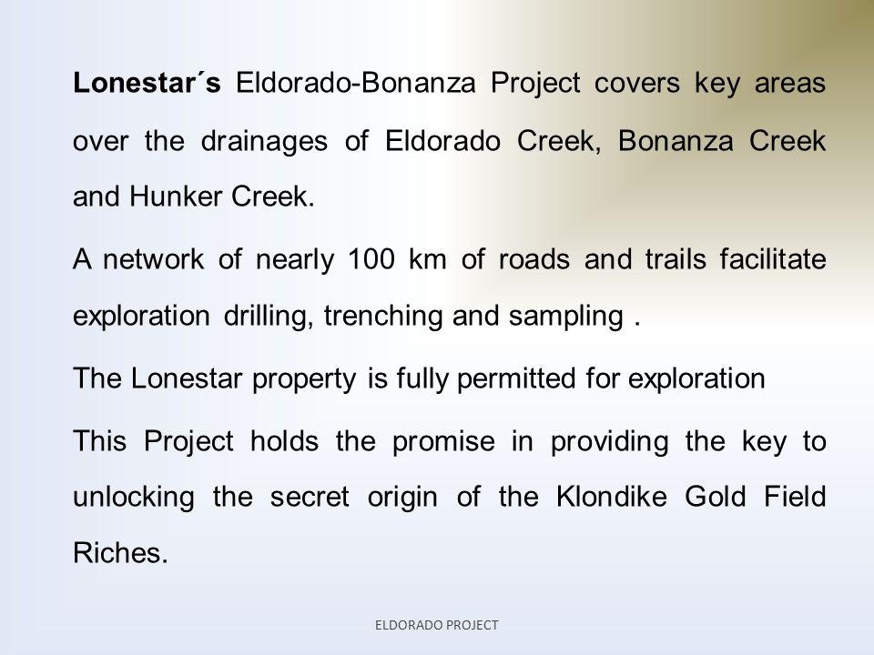 Lonestar´s Eldorado-Bonanza Project covers key areas over the drainages of Eldorado Creek, Bonanza Creek and Hunker Creek.