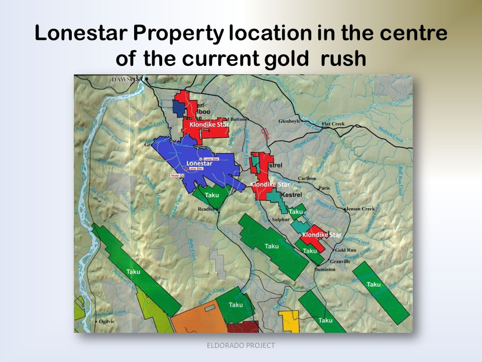 Lonestar Property location in the centre of the current gold rush ELDORADO PROJECT