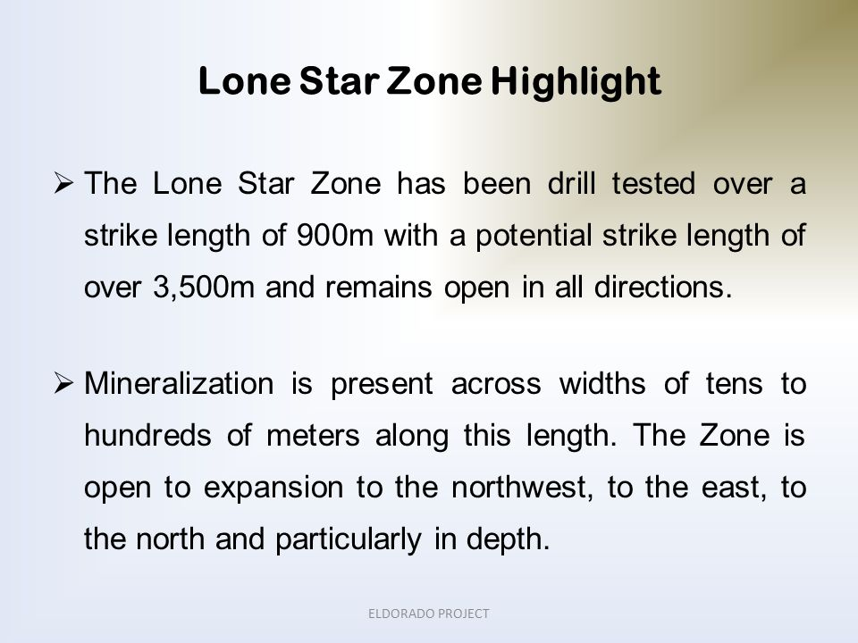 Lone Star Zone Highlight  The Lone Star Zone has been drill tested over a strike length of 900m with a potential strike length of over 3,500m and remains open in all directions.