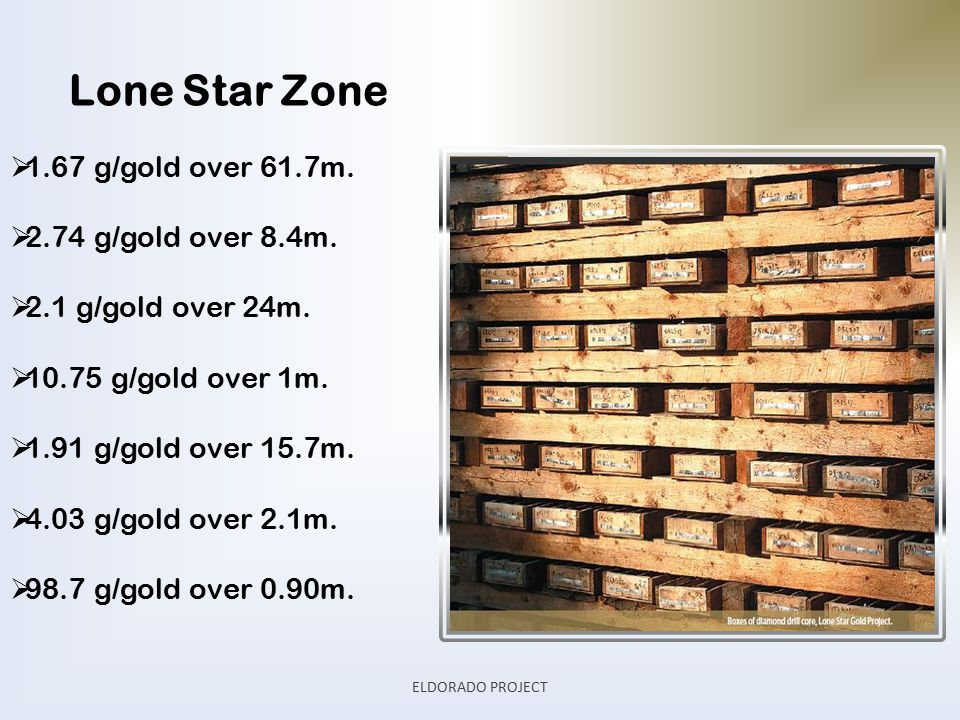 Lone Star Zone  1.67 g/gold over 61.7m.  2.74 g/gold over 8.4m.