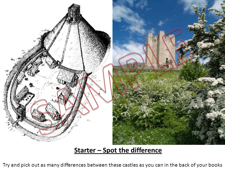Starter – Spot the difference Try and pick out as many differences between these castles as you can in the back of your books