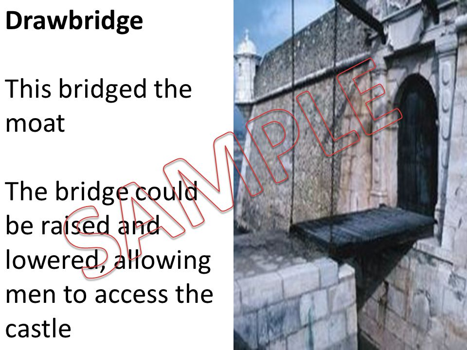 Drawbridge This bridged the moat The bridge could be raised and lowered, allowing men to access the castle