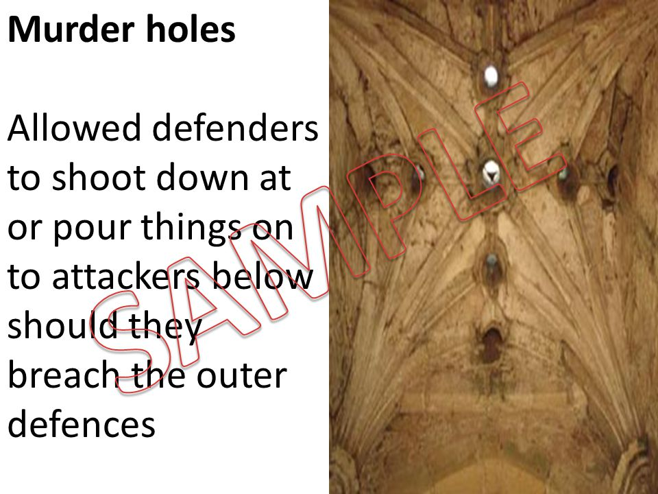Murder holes Allowed defenders to shoot down at or pour things on to attackers below should they breach the outer defences