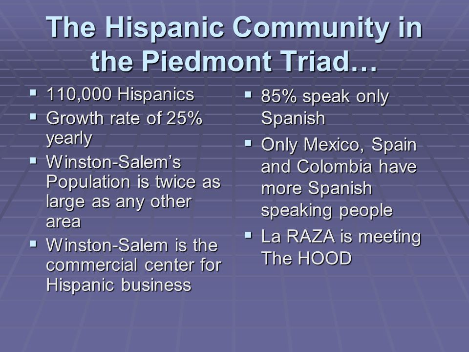 The Hispanic Community in the Piedmont Triad…  110,000 Hispanics  Growth rate of 25% yearly  Winston-Salem's Population is twice as large as any other area  Winston-Salem is the commercial center for Hispanic business  85% speak only Spanish  Only Mexico, Spain and Colombia have more Spanish speaking people  La RAZA is meeting The HOOD