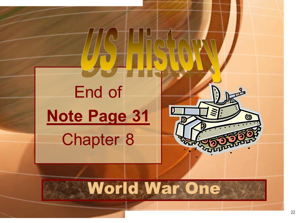 World War One End of Note Page 31 Chapter 8 22