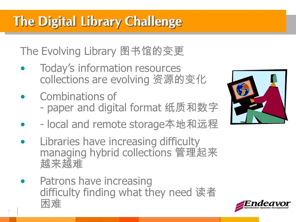 7 The Digital Library Challenge The Evolving Library 图书馆的变更 Today's information resources collections are evolving 资源的变化 Combinations of - paper and digital format 纸质和数字 - local and remote storage 本地和远程 Libraries have increasing difficulty managing hybrid collections 管理起来 越来越难 Patrons have increasing difficulty finding what they need 读者 困难