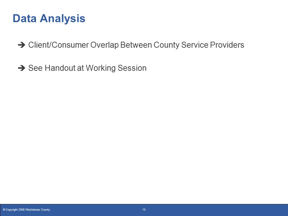 © Copyright 2008 Washtenaw County13 Data Analysis  Client/Consumer Overlap Between County Service Providers  See Handout at Working Session