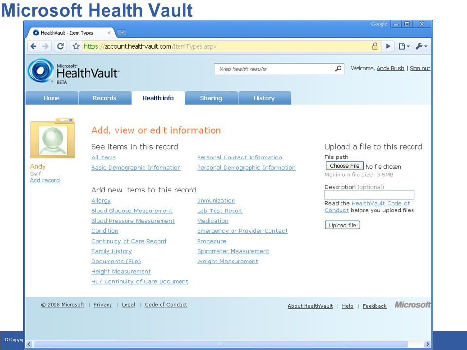 © Copyright 2008 Washtenaw County26 Microsoft Health Vault