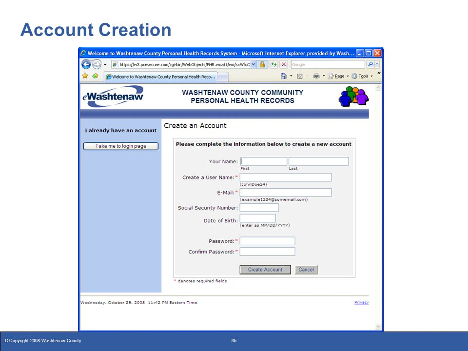 © Copyright 2008 Washtenaw County35 Account Creation
