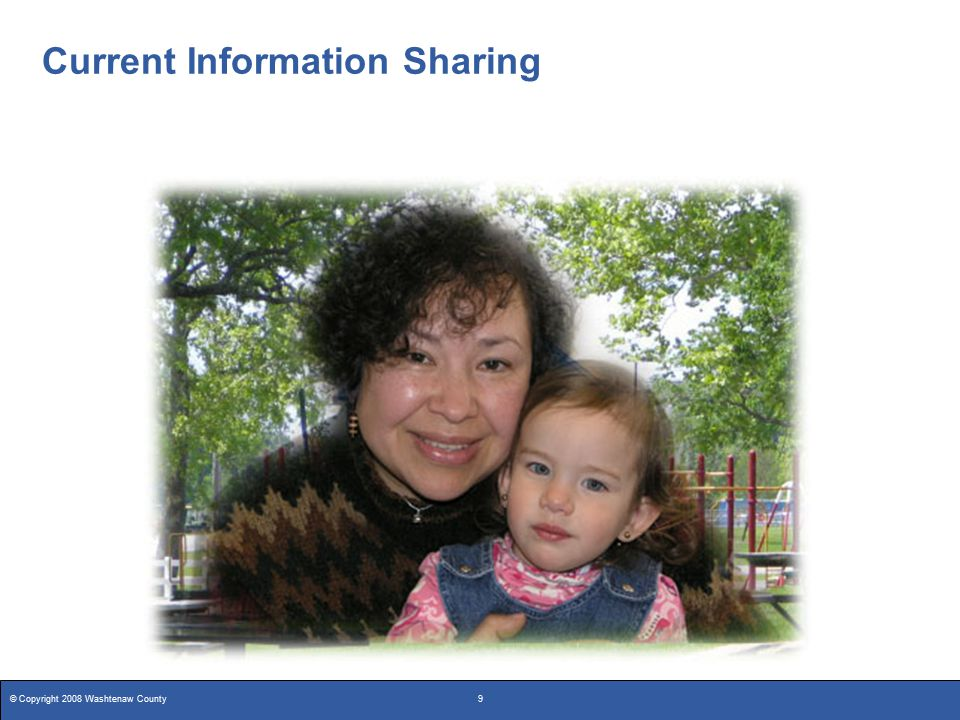 © Copyright 2008 Washtenaw County10 Current Information Sharing