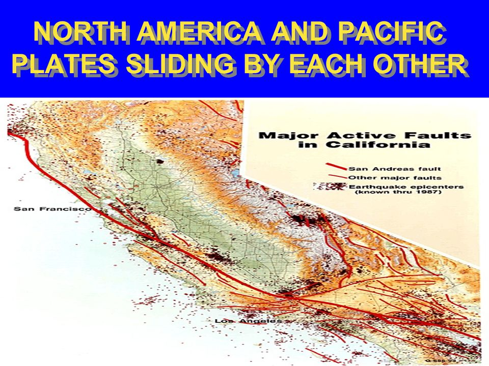 NORTH AMERICA AND PACIFIC (JUAN DE FUCA) PLATES CONVERGING