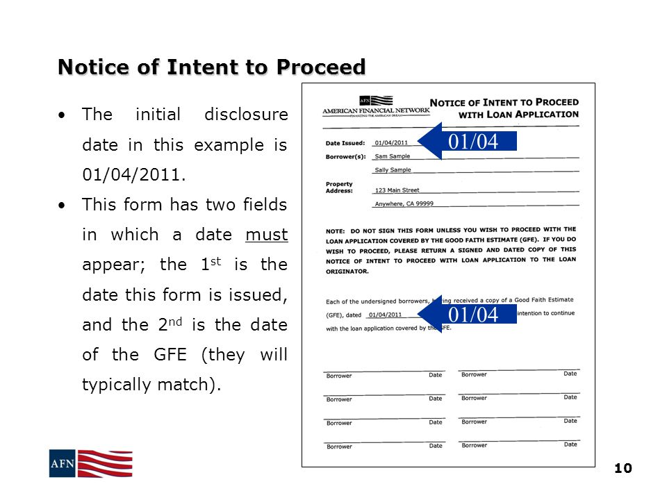 Notice of Intent to Proceed The initial disclosure date in this example is 01/04/2011.