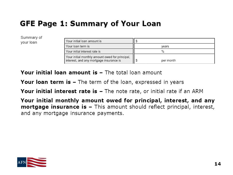 GFE Page 1: Summary of Your Loan Your initial loan amount is – The total loan amount Your loan term is – The term of the loan, expressed in years Your initial interest rate is – The note rate, or initial rate if an ARM Your initial monthly amount owed for principal, interest, and any mortgage insurance is – This amount should reflect principal, interest, and any mortgage insurance payments.