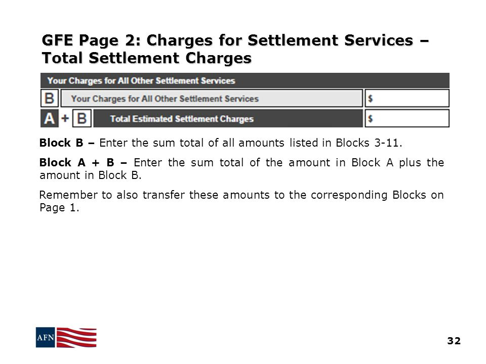 GFE Page 2: Charges for Settlement Services – Total Settlement Charges Block B – Enter the sum total of all amounts listed in Blocks 3-11.