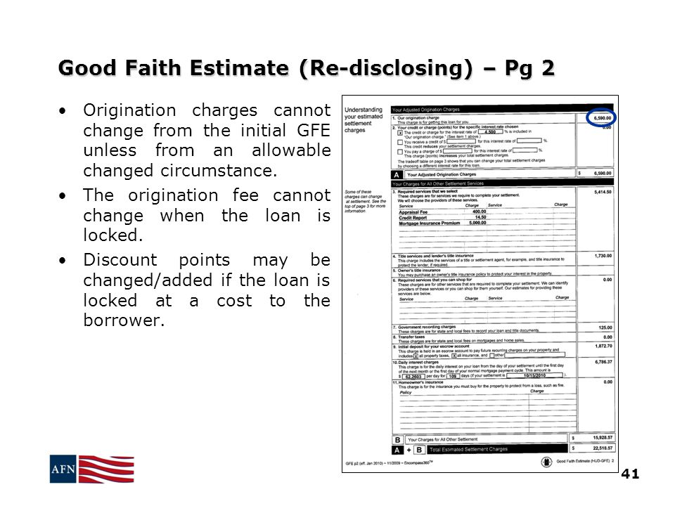 Printables Good Faith Estimate Worksheet gfe til disclosures how to get them 2012 american good faith estimate re disclosing pg 2 41 origination charges cannot change