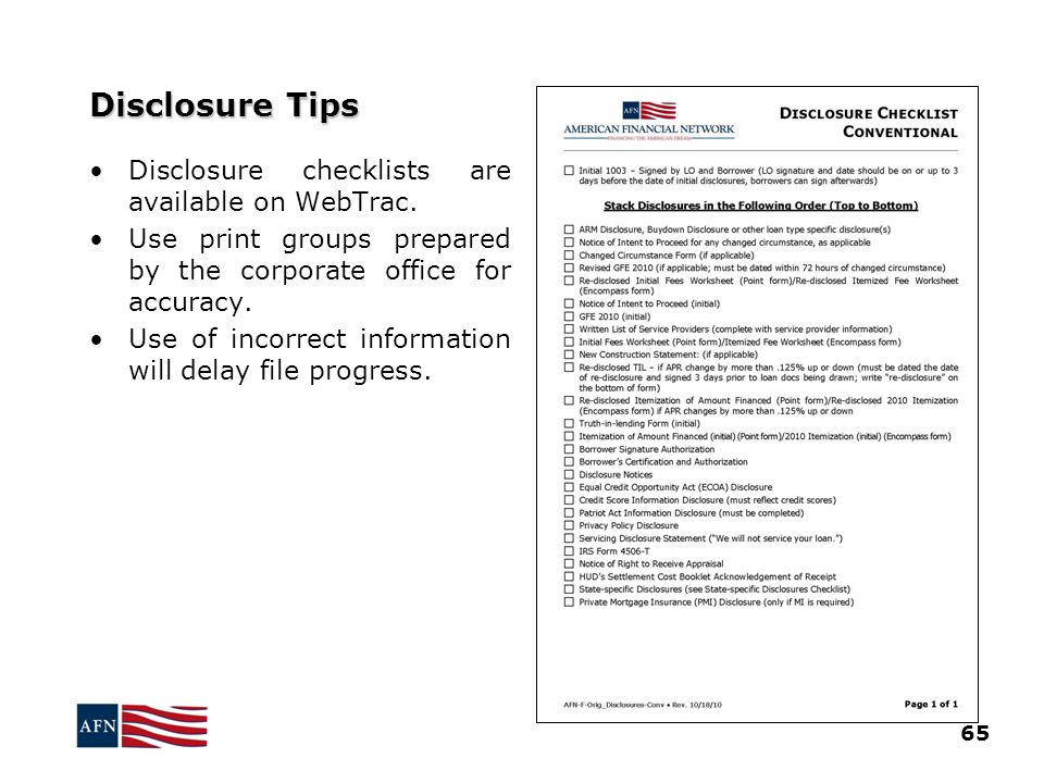 Disclosure Tips 65 Disclosure checklists are available on WebTrac.