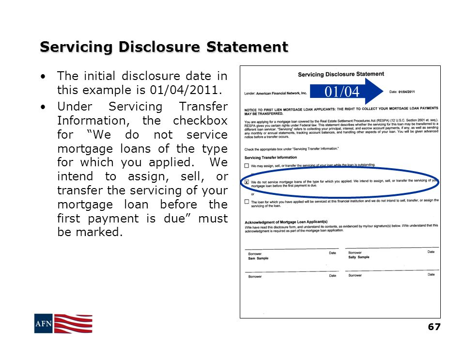 Servicing Disclosure Statement 67 The initial disclosure date in this example is 01/04/2011.