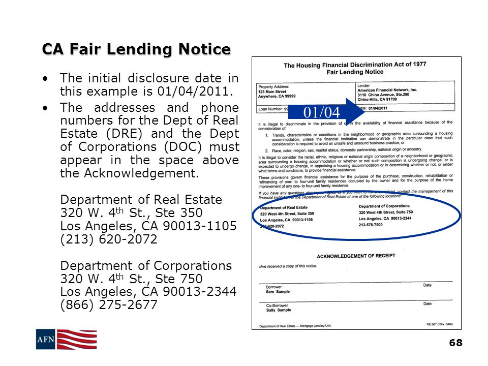 CA Fair Lending Notice 68 The initial disclosure date in this example is 01/04/2011.