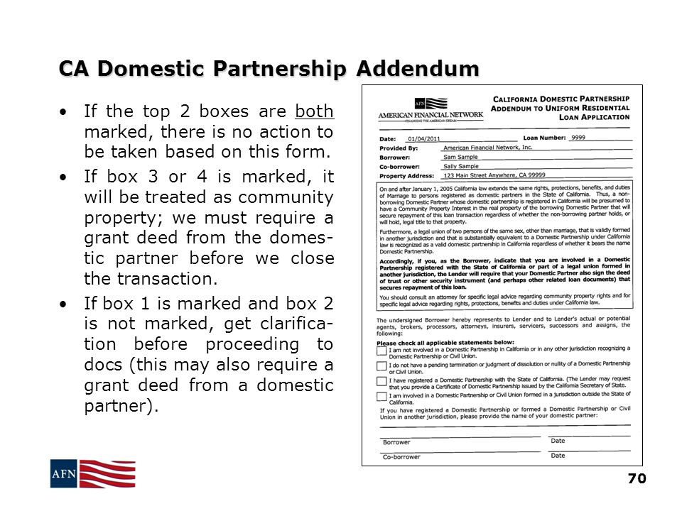CA Domestic Partnership Addendum 70 If the top 2 boxes are both marked, there is no action to be taken based on this form.