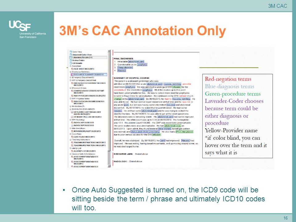 3M's CAC Annotation Only 16 Once Auto Suggested is turned on, the ICD9 code will be sitting beside the term / phrase and ultimately ICD10 codes will too.